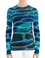 Tiger Shark  camo ocean pattern dive skin and sun protection rash guard