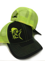 Black with Neon Yellow Mahi Mahi snapback hat