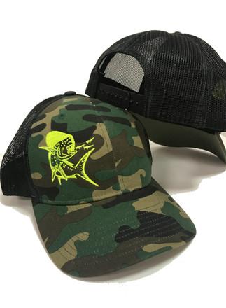 650598bf09e51 Snapback camo with Neon Yellow Mahi Mahi hat - Sporty Girl Apparel