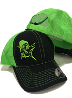 neon green and black Mahi Mahi mens snapback hat