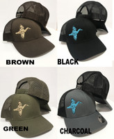Blue wing teal mens duck hunting hat mesh  snapback