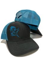 e757bfff8fa37 two toned blue and gray with Mahi Mahi mens snapback hat