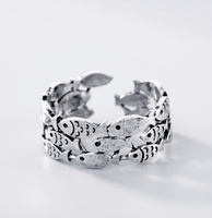 Adjustable Sterling Silver fish ring