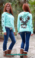 Mint zip hoodie with brown glitter  big buck and tracks