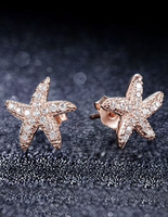 dainty rose gold starfish earrings