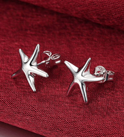sterling silver small studded  starfish earrings