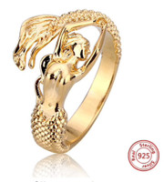 925 sterling silver gold color adjustable mermaid  ring