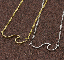 Stainless Steel  Ocean Wave Necklace Gold or