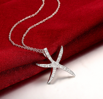 925 pure silver plated Starfish Pendant Necklace With CZ Stone Crystal