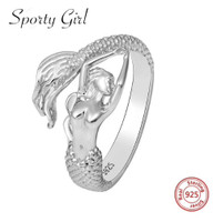 925 sterling silver adjustable mermaid wrap around  ring