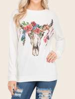 super soft light weight steer skull sweater