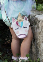 leather unicorn kids purse