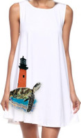 Womens loose fit  white seaturtle Jupiter  lighthouse dress