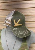 Ladies camo and army green GLITTER TURKEY FOOT hat