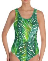 Tropical Palm Leaf  onepiece  swimwear