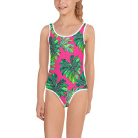 TODDLER-YOUTH PINK PALM LEAF PRINT SWIMWEAR