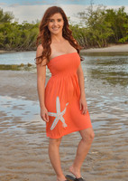 Onsize fits some Coral starfish  strapless dress