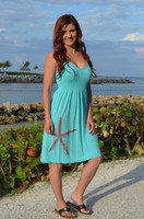 Onsize fits some Mint with Coral starfish  Strapped Dress