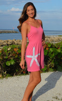 onesize Coral with Mint starfish  Strapped Dress