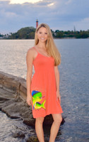 Strapped onesize orange coral mahi mahi fishing  dress