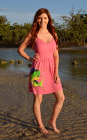 Strapped onesize  coral mahi mahi fishing  dress