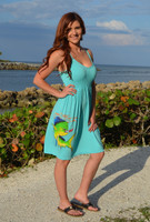 Strapped onesize  mint mahi mahi- dolphin  fishing  dress