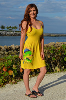 Strapped onesize YELLOW  mahi mahi - dolphin fishing  dress
