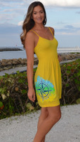 Strapped onesize YELLOW  Compass rose with mahi print dress