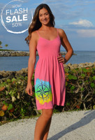 Strapped onesize CORAL   Compass rose with mahi print dress