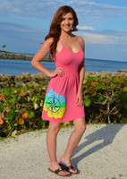 shorter style Strapped onesize CORAL   Compass rose with mahi print dress