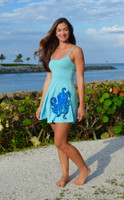 LARGE LEFT ONLY - Blue octopus spaghetti strap dress