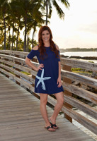 Starfish Navy Cold Shoulder Nautical dress
