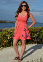 Coral anchor spaghetti strap dress
