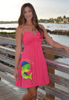 Fancy Spaghetti Strap candy pink mahi dolphin dress