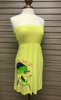 Onsize fits some highlighter yellow dolphin strapless dress