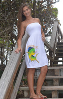 WHITE strapless  onesize dolphin  dress