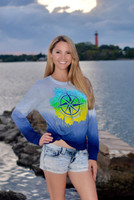 LARGE ONLY IN STOCK Dip Dye blue compass long sleeve