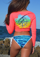 mahi compass Neon Coral v neck sunshirt