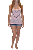 Memorial day promotion Pink heart hook tank