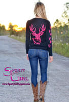 PREORDER- Due in November Black Ladies long sleeve with neon pink big buck