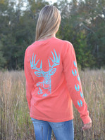 Pre order due in November  coral/mint long sleeve  big buck with tracks