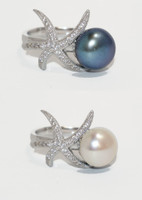 Sterling Silver with freshwater pearl adjustable ring