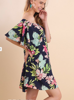 NAVY Floral Print Off Shoulder Short Bell Sleeve Dress