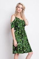 cold shoulder Palm print beach dress