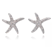 sterling silver starfish crystal earrings