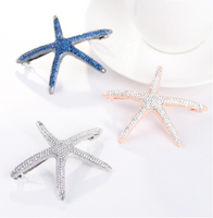 crystal starfish hair clips