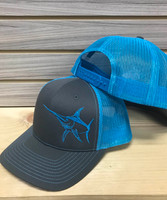Blue and charcoal grey  SWORDFISH MESH BACK HAT