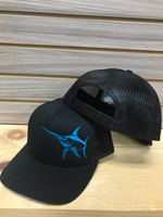 soild black snapback SWORDFISH MESH BACK HAT