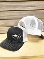 Charcoal grey and White Tuna fishing  Mesh Back  adjustable hat
