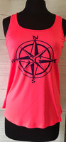 Neon Coral Compass sporty tank top